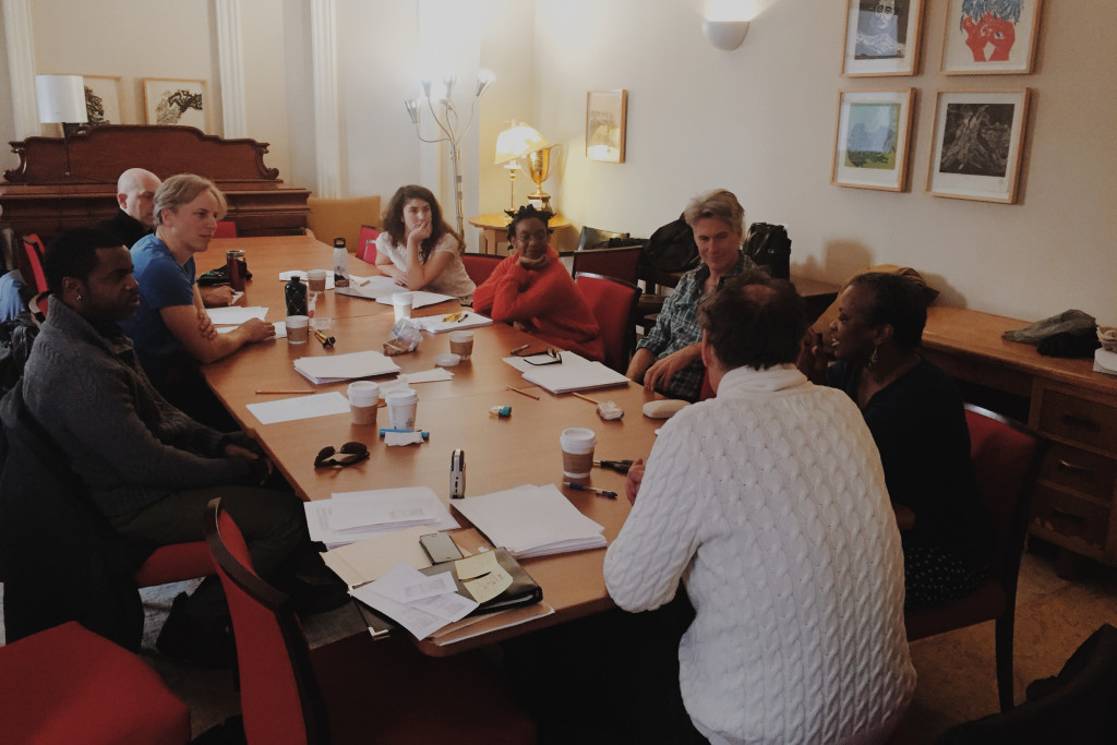 Sascha Cole, Andrea Scott, Rick Roberts, Marcia Johnson, Ken Gass, Kevin Hanchard, David Christo, and Ron Fromstein in a workshop reading for Marcia Johnson's JUMPING SHIP.